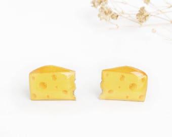 Cheese earrings , Cheese lover gift , Cheese jewelry , Miniature food earrings , Cheese lover earrings , Food jewelry , Swiss Cheese studs