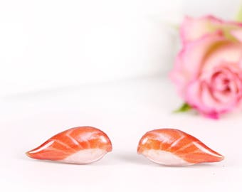 Nigiri sushi earrings Sushi nigiri jewelry Sushi lover gift Salmon and rice earrings Food earrings Japanese food jewelry Sushi accessories