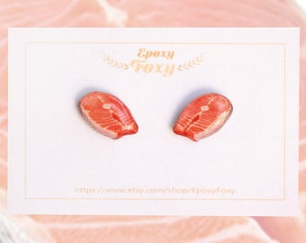 Salmon earrings Fish earrings Salmon jewelry Food earrings Fish jewelry Food jewelry Salmon lover gift Seafood lover jewelry Fitness food