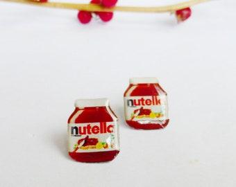 Nutella earrings / chocolate earrings / nutella jewelry / food earrings / nutella gift idea / chocolate jewelry / jar of nutella