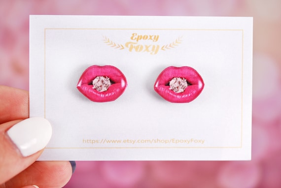 Pink Lips Earrings Lips And Diamond Jewelry Pink Lips Studs Etsy