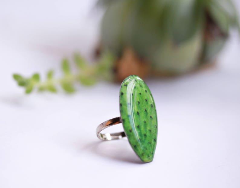 Cactus leaf ring Cactus lover gift Cactus jewelry Cacti ring Cacti jewelry Cactus accessories Botanical jewelry Succulent jewelry