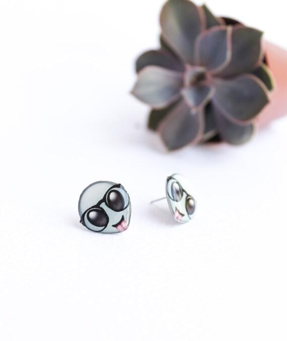 Alien emoji earrings jewelry accessories Nerd alien studs Emoji studs Nerd  earrings Hipster alien studs Hipster earrings emoji earrings