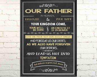 Digital Chalkboard Our Father Prayer