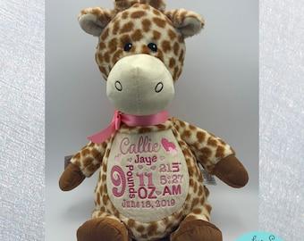 Personalized stuffed animal, giraffe birth announcement stuffed animal, handmade, embroidered, jungle, safari theme baby shower gift idea