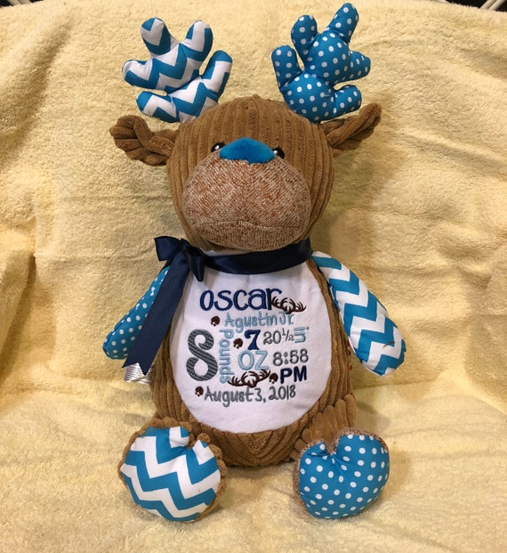 Personalized Stuffed Animal Deer Birth Announcement Stuffed Etsy