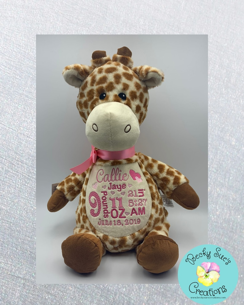 Personalized stuffed animal giraffe birth announcement image 0
