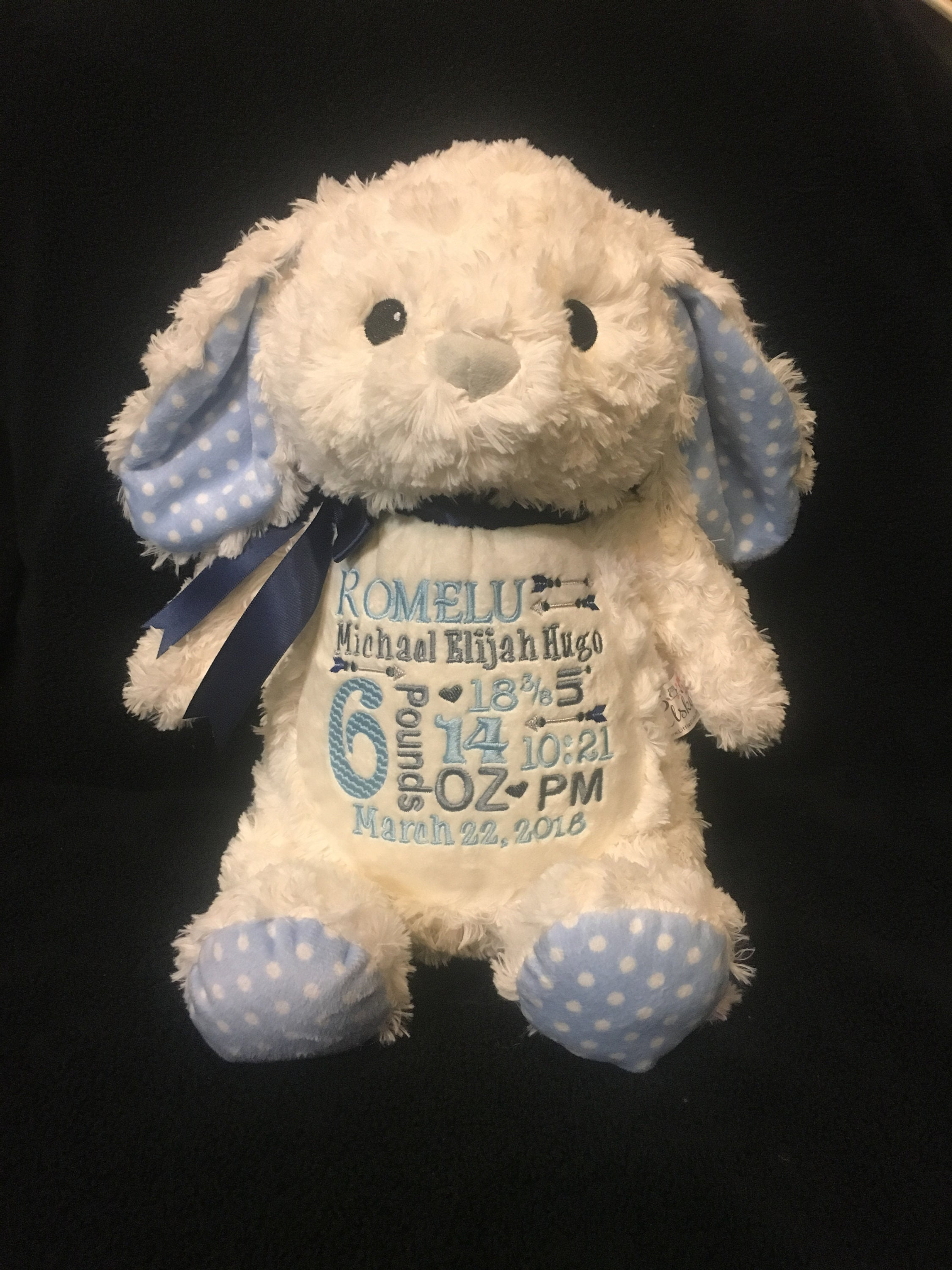 Personalized Stuffed Animal Bunny Baby Announcement Plush Etsy