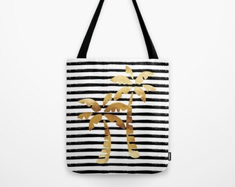 Canvas Tote Bag - Palm Trees and Stripes - Gold Black and White - 3 Sizes Available - Beach Gym Grocery Weekend - Bundle with a Beach Towel!