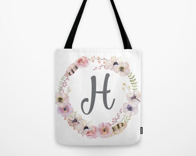Canvas Tote Bag - Custom Initial - Boho Floral + Feathers Wreath - Blush Pink Coral Gray Green - Thee Sizes Available - Personalized Gift