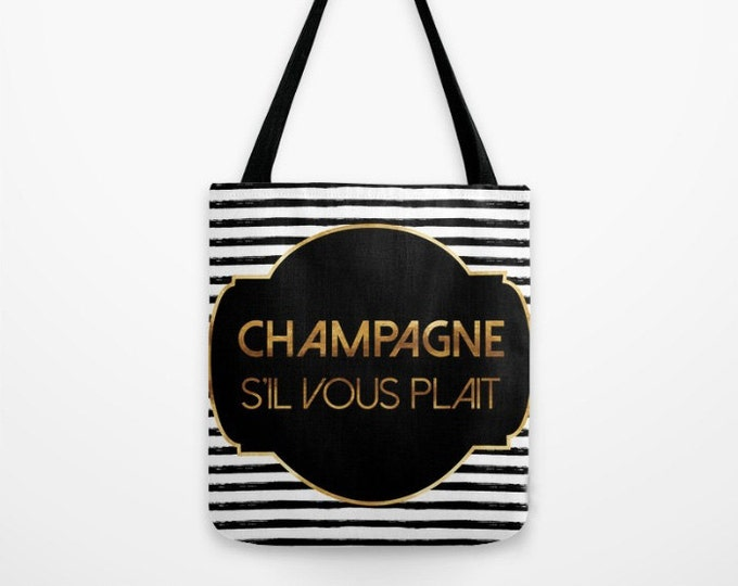 Canvas Tote Bag - Champagne S'il Vous Plait - Badge and Stripes - Gold Black and White - 3 Sizes Available - Beach Gym Grocery Weekend