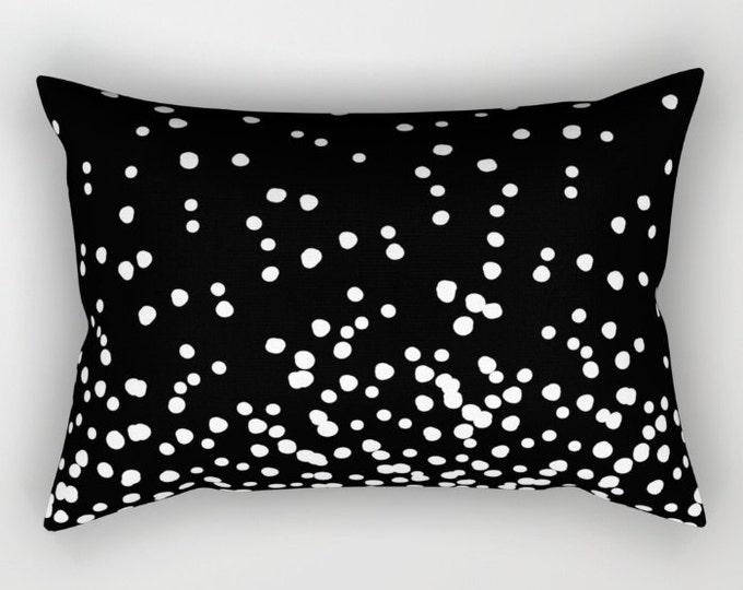 Lumbar Throw Pillow - Floating Dots - Black and White - Rectangle Cover and Insert - 17x12 20x14 25.5x18 28x20