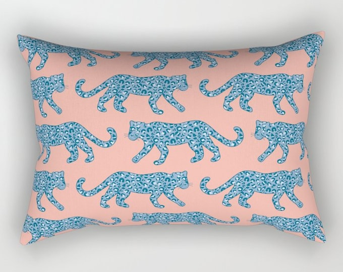 Lumbar Throw Pillow - Leopard Parade - Blue on Bright Coral Pink - Rectangle Cover and Insert - 17x12 20x14 25.5x18 28x20