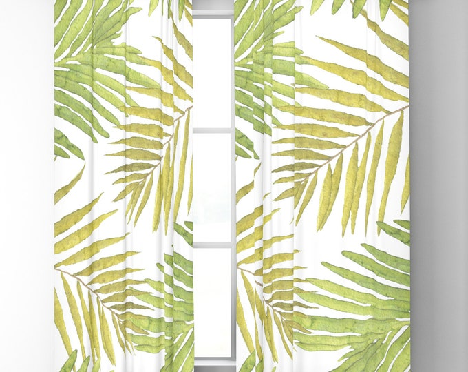 "Window Curtains - Palms Against White - Green Yellow - 50"" x 84"" or 96"" Length - Blackout or Sheer - Rod Pocket - Bedroom Nursery Playroom"