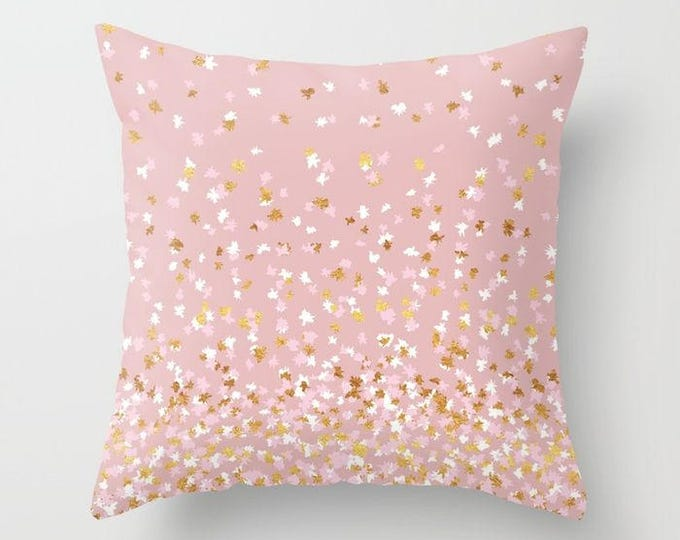 Throw Pillow - Floating Confetti Dots - Pink Blush White Gold - Square Cover with Insert - 16x16 18x18 20x20 24x24