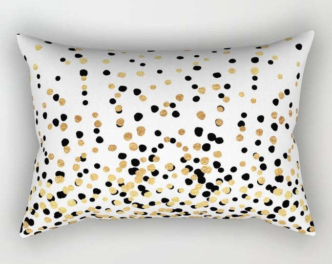 Lumbar Throw Pillow - Floating Dots - Gold Black and White - Rectangle Cover and Insert - 17x12 20x14 25.5x18 28x20