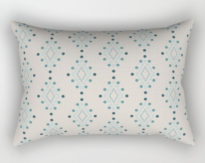 Lumbar Throw Pillow - Diamond Geometric Pattern - Beige Pink Blue Turquoise - Rectangle Cover and Insert - 17x12 20x14 25.5x18 28x20