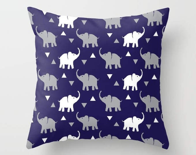 Throw Pillow - Elephants & Triangles Print - Navy Blue Gray White - Square Cover with Insert - 16x16 18x18 20x20 24x24