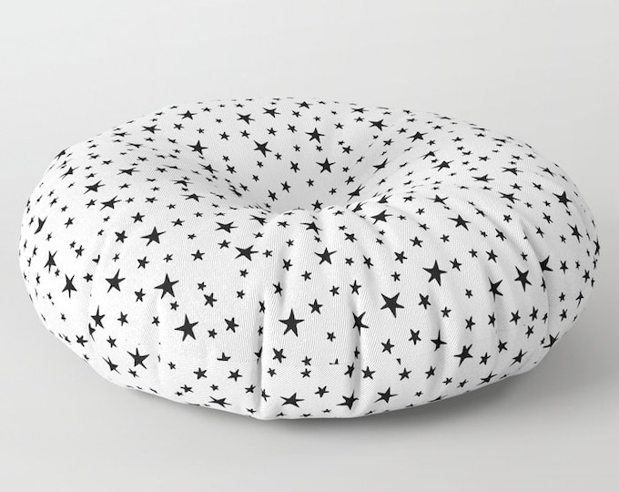 "Oversized Floor Pillow - Mini Star Print - Black on White - Round or Square - 26"" or 30"" - Throw Poof Pouf Cushion"