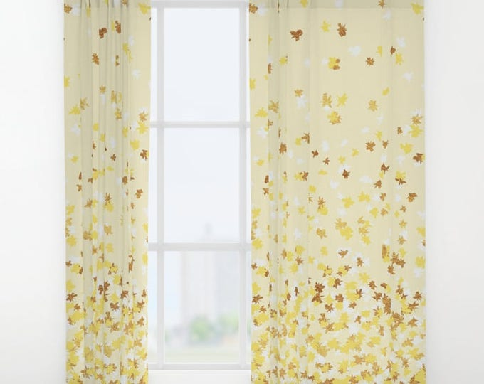 """Window Curtains - Floating Confetti Dots - Yellow White Gold - 50"""" x 84"""" - Rod Pocket - Bedroom Decor Accessories Kids Nursery Playroom"""
