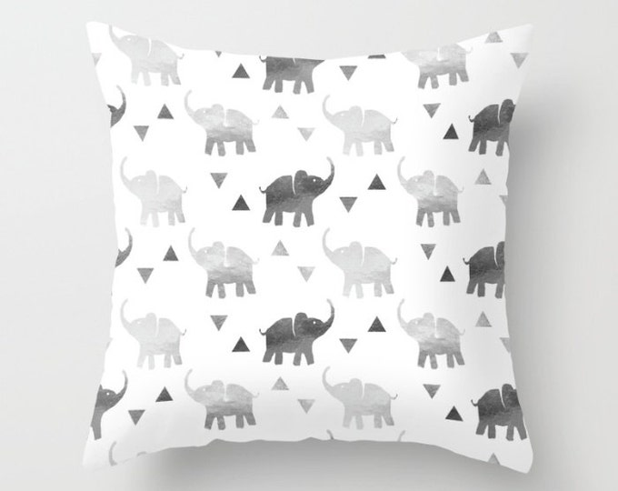 Throw Pillow - Elephants & Triangles Print - Silver - Square Cover with Insert - 16x16 18x18 20x20 24x24