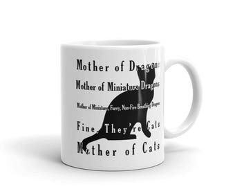 Graphic Print Ceramic Mug - Mother of Cats - Black and White - 11oz or 15oz - Image on Both Sides