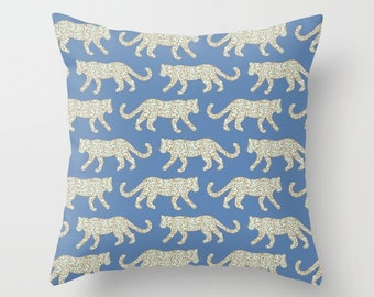 Throw Pillow - Leopard Parade - Mint Aqua Camel on Denim Blue - Square Cover with Insert - 16x16 18x18 20x20 24x24