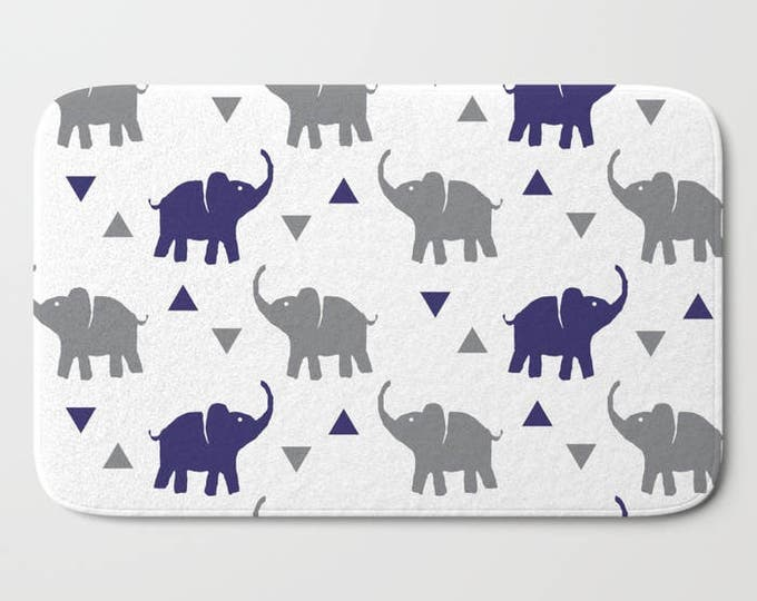 "Bath Mat - Elephants & Triangles Print - Gray and Navy Blue - 17""x24"" or 21""x34"" - Bathroom Shower Tub Decor Accessories - Kids Boys"