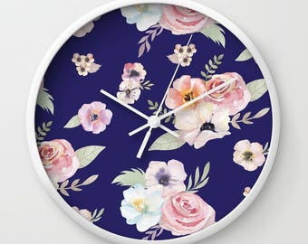 Wall Clock - Watercolor Floral I - Navy Blue Pink - Choose Frame & Hand Colors - Bedroom Decor Accessories Dorm Nursery Playroom