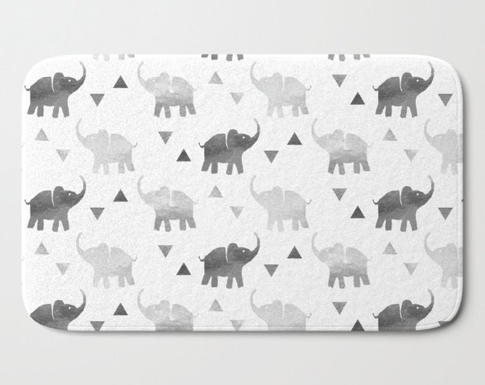 "Bath Mat - Elephants & Triangles Print - Gray Silver - 17""x24"" or 21""x34"" - Bathroom Shower Tub Decor Accessories"