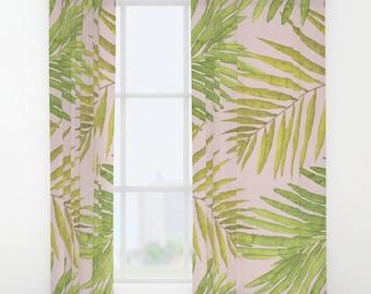 "Window Curtains - Palms Against Blush - Pink Green Yellow - 50"" x 84"" - Rod Pocket - Bedroom Decor Accessories Kids Nursery Playroom"