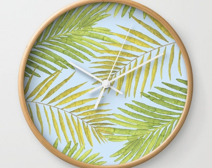 Wall Clock - Palms Against the Sky - Green Yellow Light Blue - Choose Frame & Hand Colors - Bedroom Decor Accessories Dorm Nursery Playroom