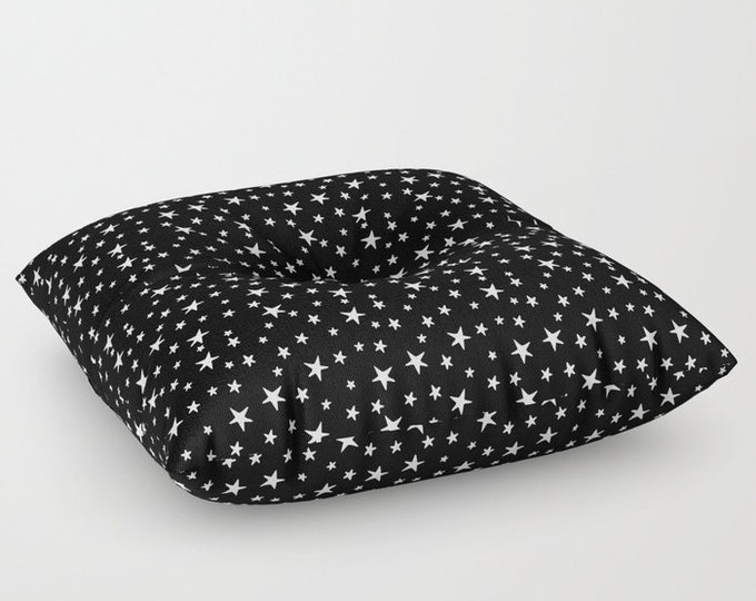 "Oversized Floor Pillow - Mini Star Print - White on Black - Round or Square - 26"" or 30"" - Throw Poof Pouf Cushion"