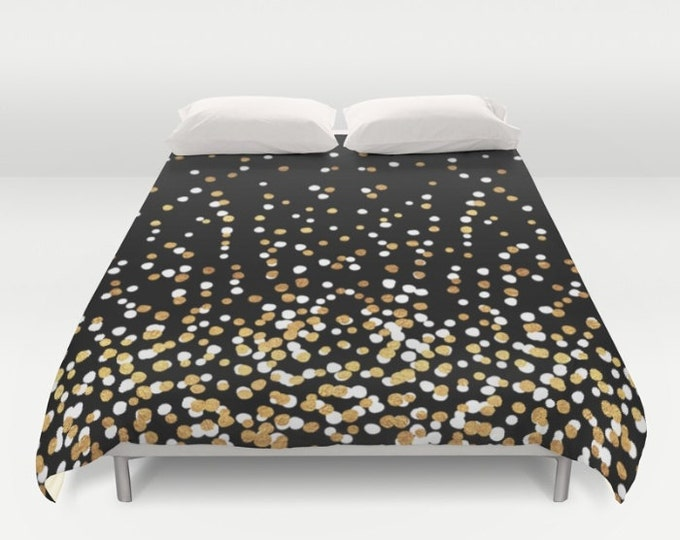 Duvet Cover or Comforter - Floating Dots - Gold Black and White - Twin XL Full Queen or King - Bedroom Bed