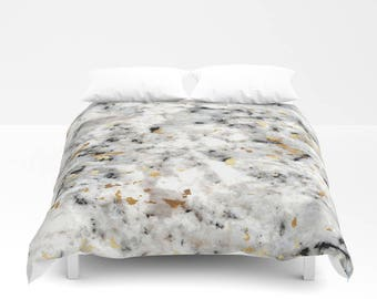 Duvet Cover or Comforter - Classic Marble with Gold Specks - Black White - Twin XL Full Queen or King - Bedroom Bed - Shams Optional