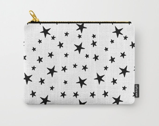 Zipper Pouch - Star Print - Black and White - 3 Sizes Available