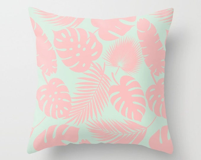 Throw Pillow - Tropical Leaves - Blush on Aqua - Square Cover with Insert - 16x16 18x18 20x20 24x24