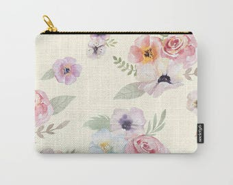 Zipper Pouch - Watercolor Floral I - Cream Ivory Pink - 3 Sizes Available - Carry All Clutch Bag Cosmetic Case Makeup