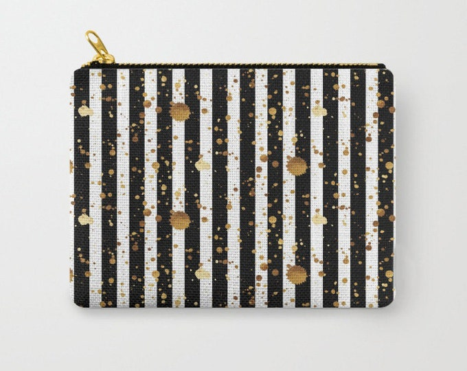 Zipper Pouch - Stripes and Paint Splatter - Black White Gold - 3 Sizes Available