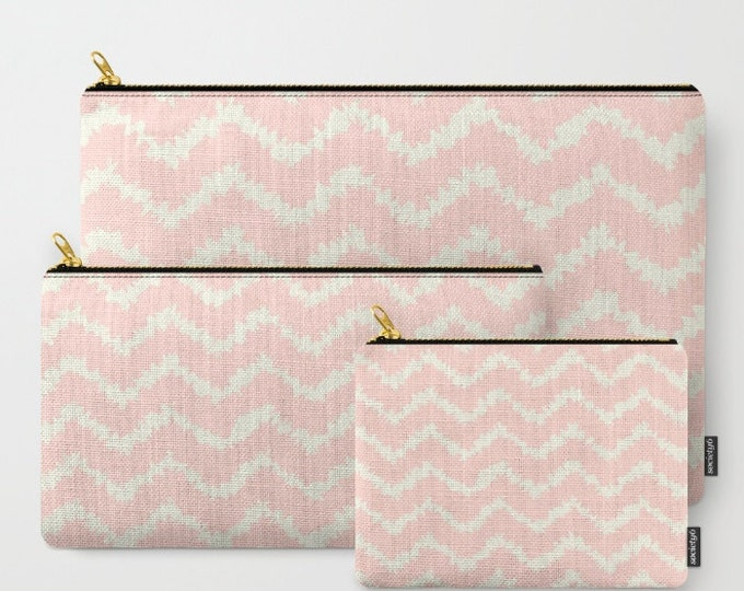 Zipper Pouch - Ragged Chevron Stripes - Gray Black Blush or Taupe - 3 Sizes Available