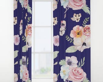 """Window Curtains - Watercolor Floral I - Navy Blue Pink - 50"""" x 84"""" - Rod Pocket - Bedroom Decor Accessories Kids Nursery Playroom"""