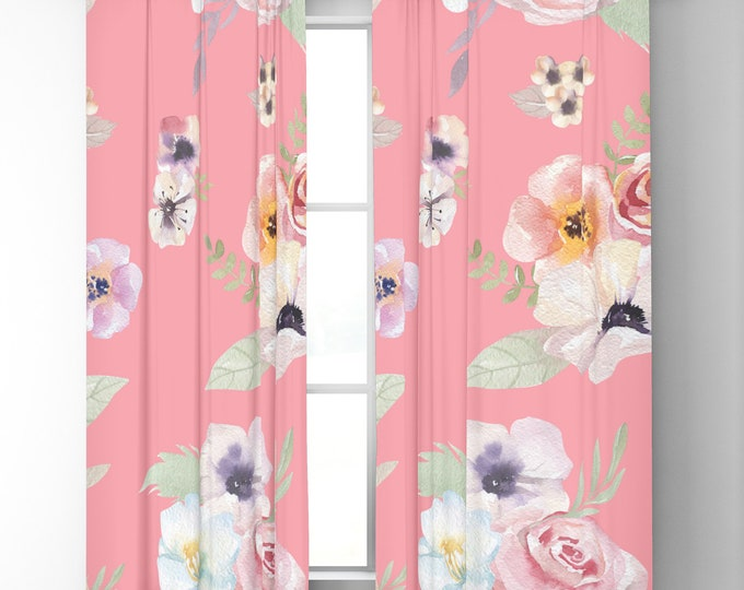 "Window Curtains - Watercolor Floral I - Bright Pink - 50"" x 84"" or 96"" Length - Blackout or Sheer - Rod Pocket - Bedroom Nursery Playroom"