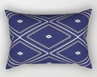 Lumbar Throw Pillow - Navajo Pattern - Navy Blue White Tan - Rectangle Cover and Insert - 17x12 20x14 25.5x18 28x20