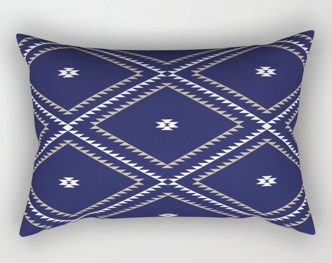 Lumbar Throw Pillow - Navajo Pattern - Navy Blue White Tan - Rectangle Cover and Insert - 17x12 20x14 25.5x18 28x20