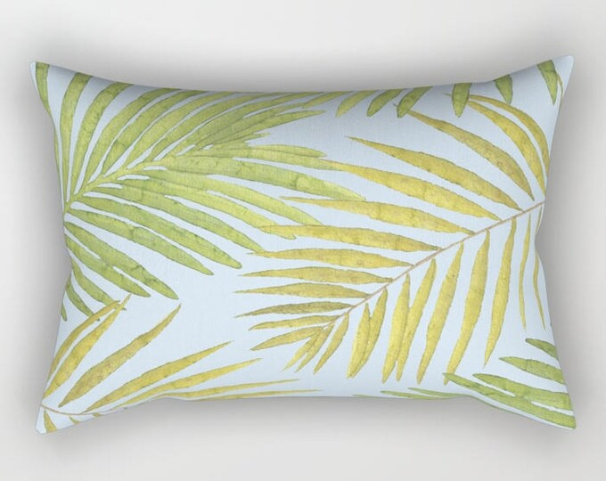 Lumbar Throw Pillow - Palms Against the Sky - Green Yellow Light Blue - Rectangle Cover and Insert - 17x12 20x14 25.5x18 28x20