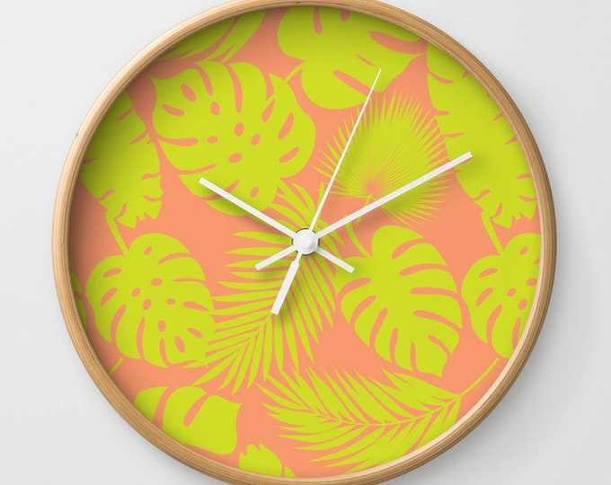 Wall Clock - Tropical Leaves - Lime on Coral - Choose Frame & Hand Colors - Bedroom Decor Accessories Dorm Nursery Playroom
