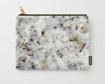 Zipper Pouch - Classic Marble with Gold Specks - Black White Gold - 3 Sizes Available - Makeup Bag Toiletries iPad Case