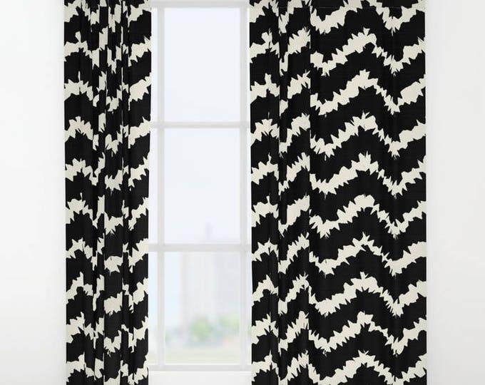 "Window Curtains - Ragged Chevron Stripes - Gray Black Blush Taupe - 50"" x 84"" - Rod Pocket - Bedroom Decor Accessories Kids Nursery Playroom"