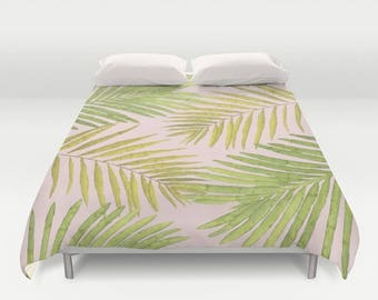 Duvet Cover or Comforter - Palms Against Blush - Pink Green Yellow - Twin XL Full Queen or King - Bedroom Bed - Shams Optional