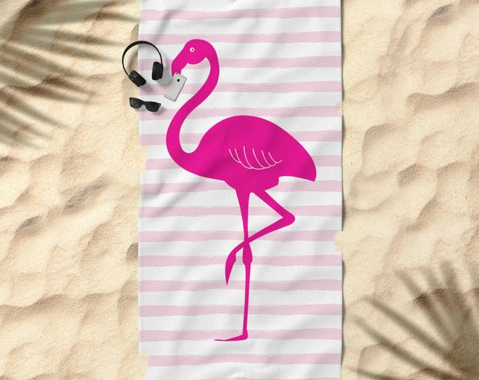 Oversized Beach Towel - Flamingo and Stripes - Hot Pink Blush and White - Bundle with a Tote and Pouch!